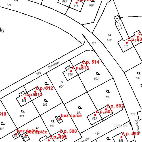 Katastrální mapa Stavební objekt Heřmanice 513, Ostrava