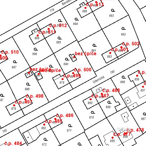 Katastrální mapa Stavební objekt Heřmanice 500, Ostrava