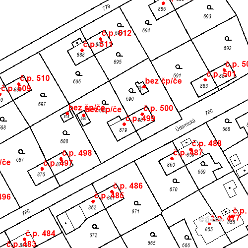 Katastrální mapa Stavební objekt Heřmanice 499, Ostrava