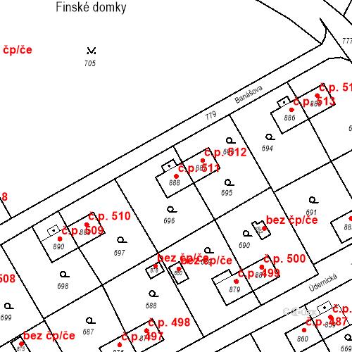 Katastrální mapa Stavební objekt Heřmanice 511, Ostrava