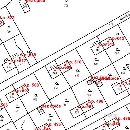 Katastrální mapa Stavební objekt Heřmanice 510, Ostrava