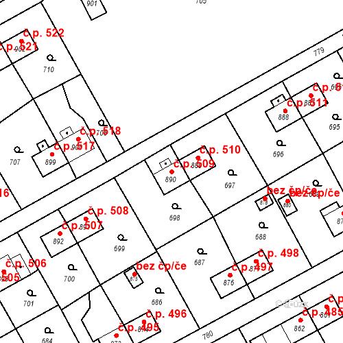 Katastrální mapa Stavební objekt Heřmanice 509, Ostrava