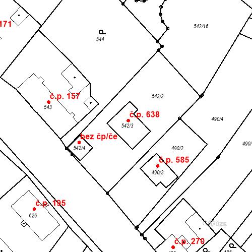 Katastrální mapa Stavební objekt Bartovice 638, Ostrava