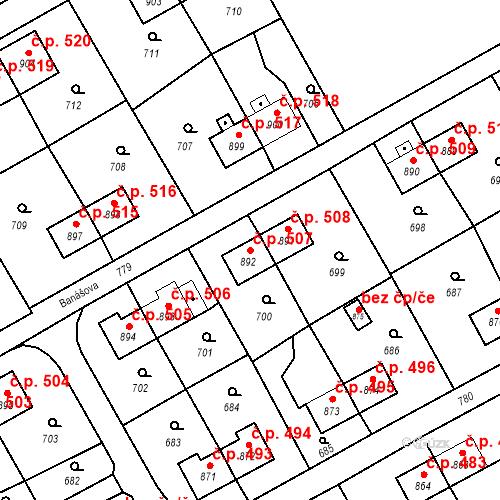 Katastrální mapa Stavební objekt Heřmanice 507, Ostrava