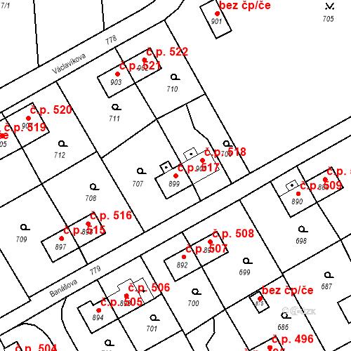 Katastrální mapa Stavební objekt Heřmanice 517, Ostrava