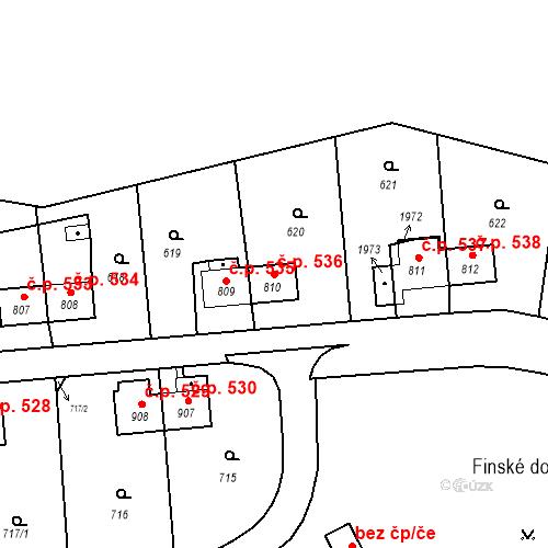 Katastrální mapa Stavební objekt Heřmanice 536, Ostrava