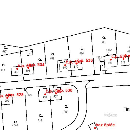 Katastrální mapa Stavební objekt Heřmanice 535, Ostrava