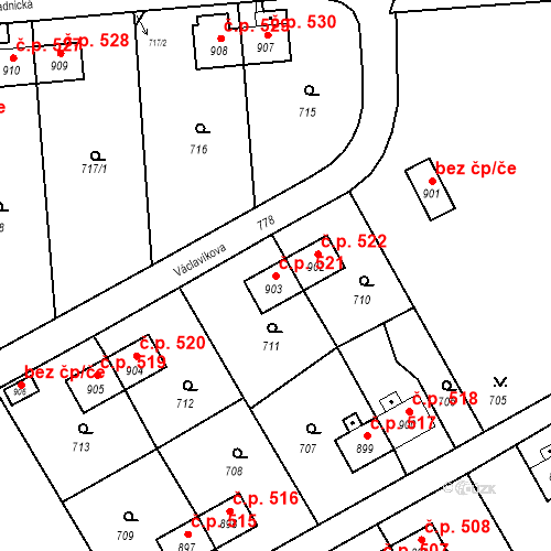 Katastrální mapa Stavební objekt Heřmanice 521, Ostrava