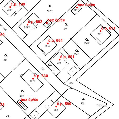 Katastrální mapa Stavební objekt Heřmanice 591, Ostrava