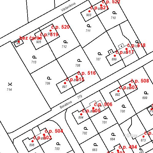 Katastrální mapa Stavební objekt Heřmanice 516, Ostrava