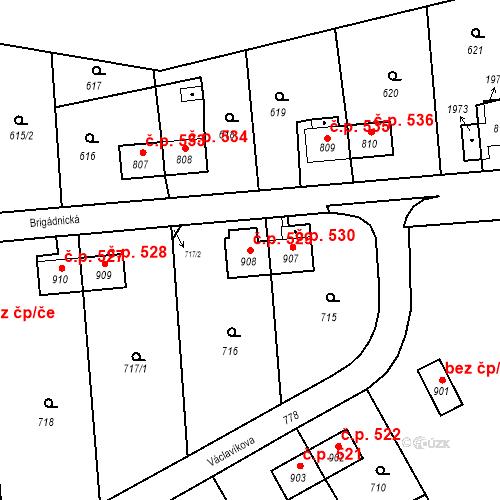 Katastrální mapa Stavební objekt Heřmanice 529, Ostrava