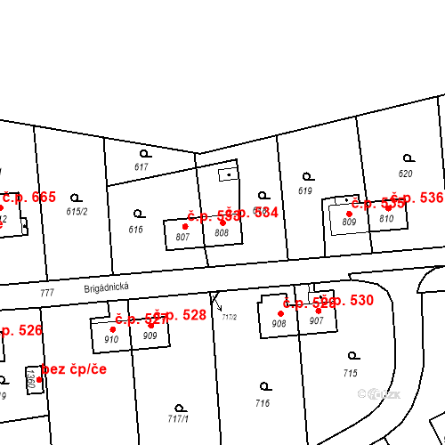 Katastrální mapa Stavební objekt Heřmanice 534, Ostrava
