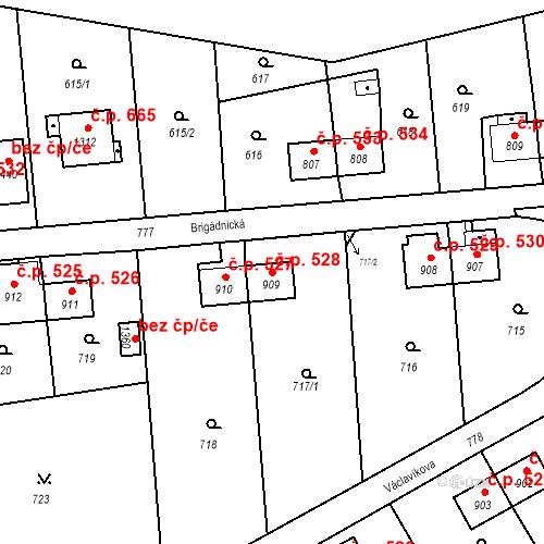 Katastrální mapa Stavební objekt Heřmanice 528, Ostrava