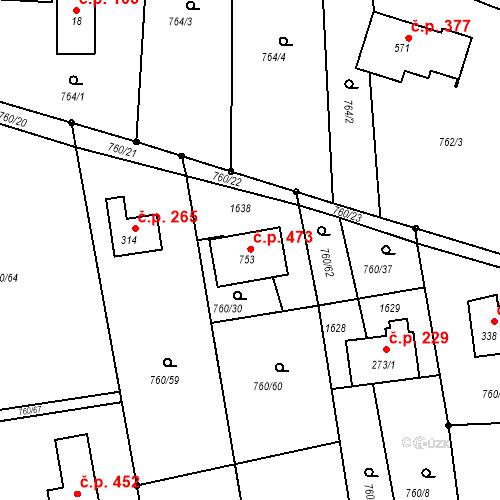 Katastrální mapa Stavební objekt Sedliště 473, Sedliště