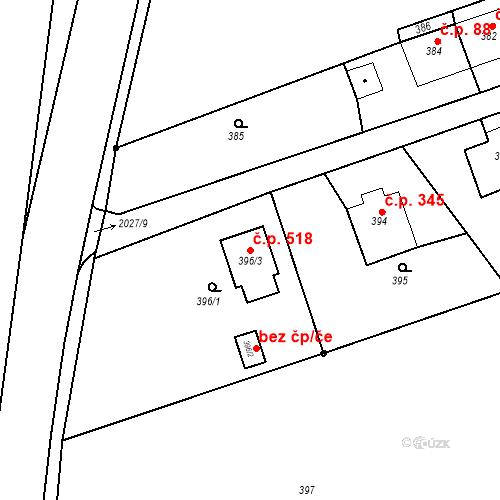 Katastrální mapa Stavební objekt Baška 518, Baška