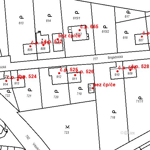 Katastrální mapa Stavební objekt Heřmanice 526, Ostrava