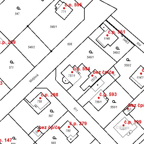 Katastrální mapa Stavební objekt Heřmanice 594, Ostrava