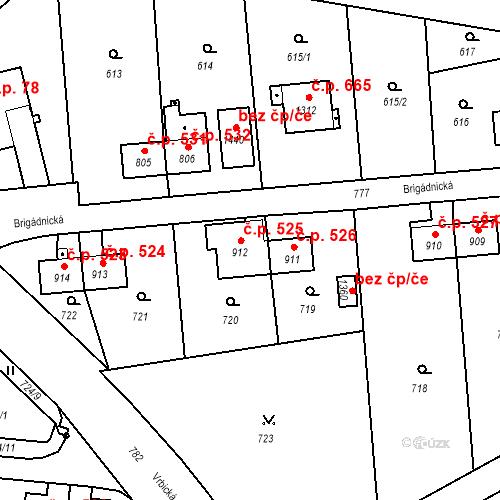 Katastrální mapa Stavební objekt Heřmanice 525, Ostrava
