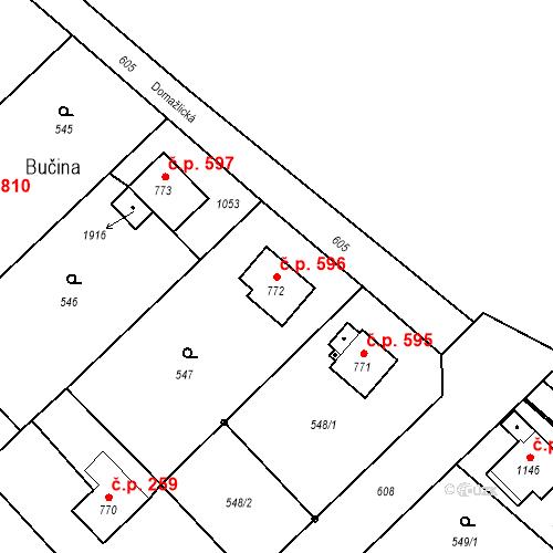 Katastrální mapa Stavební objekt Heřmanice 596, Ostrava