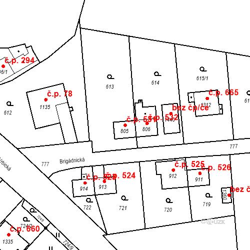 Katastrální mapa Stavební objekt Heřmanice 531, Ostrava