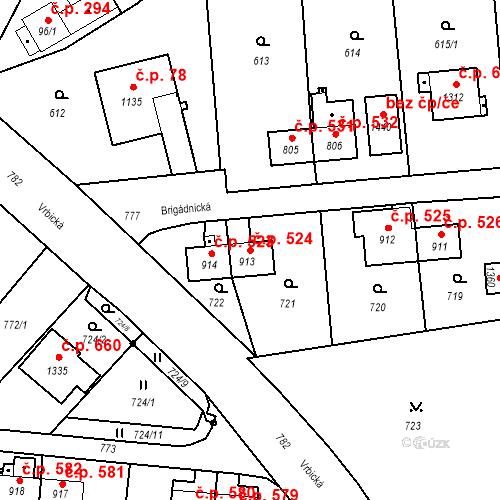 Katastrální mapa Stavební objekt Heřmanice 524, Ostrava