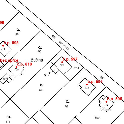Katastrální mapa Stavební objekt Heřmanice 597, Ostrava
