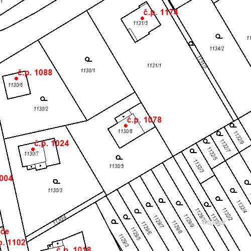 Katastrální mapa Stavební objekt Radvanice 1078, Ostrava