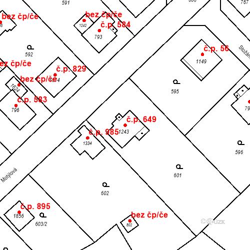 Katastrální mapa Stavební objekt Heřmanice 649, Ostrava