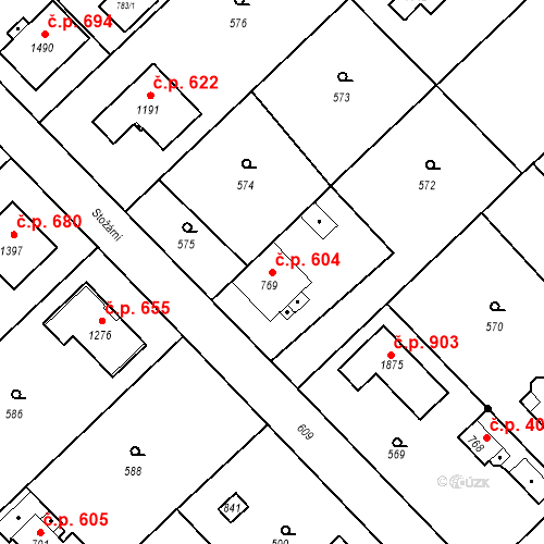 Katastrální mapa Stavební objekt Heřmanice 604, Ostrava