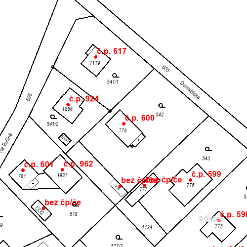 Katastrální mapa Stavební objekt Heřmanice 600, Ostrava