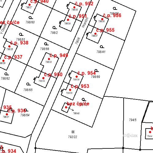 Katastrální mapa Stavební objekt Radvanice 954, Ostrava
