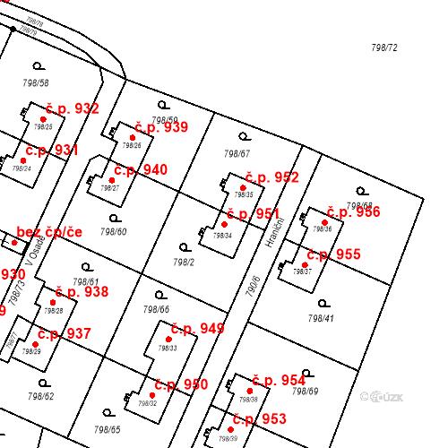 Katastrální mapa Stavební objekt Radvanice 951, Ostrava