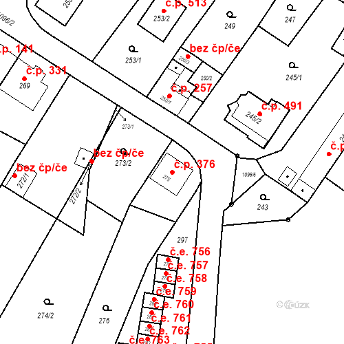 Katastrální mapa Stavební objekt Starý Bohumín 376, Bohumín
