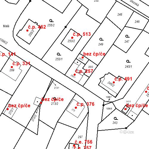 Katastrální mapa Stavební objekt Starý Bohumín 257, Bohumín