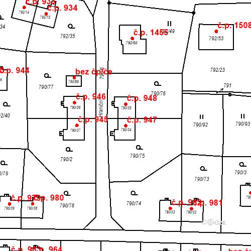 Katastrální mapa Stavební objekt Radvanice 947, Ostrava