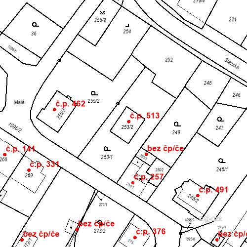 Katastrální mapa Stavební objekt Starý Bohumín 513, Bohumín