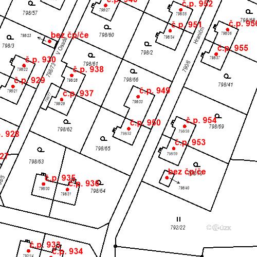Katastrální mapa Stavební objekt Radvanice 950, Ostrava