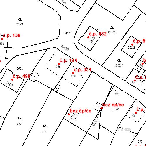 Katastrální mapa Stavební objekt Starý Bohumín 331, Bohumín