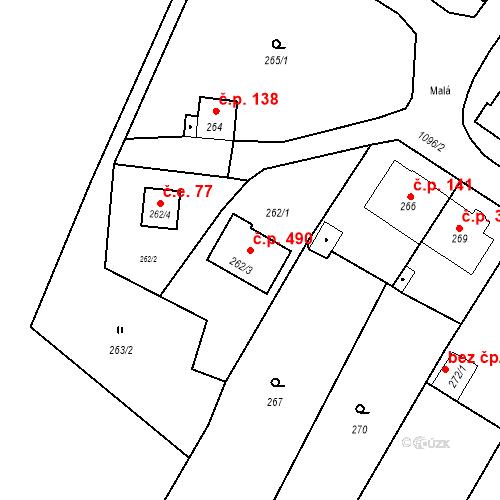 Katastrální mapa Stavební objekt Starý Bohumín 490, Bohumín