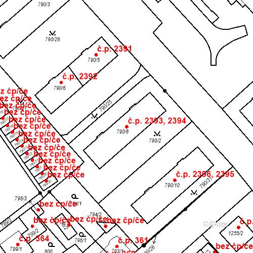 Katastrální mapa Stavební objekt Frýdek 2393, 2394, Frýdek-Místek