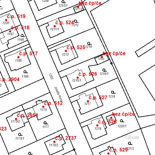 Katastrální mapa Stavební objekt Frýdek 526, Frýdek-Místek