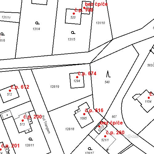 Katastrální mapa Stavební objekt Heřmanice 674, Ostrava