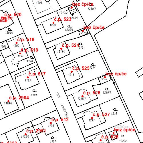 Katastrální mapa Stavební objekt Frýdek 525, Frýdek-Místek