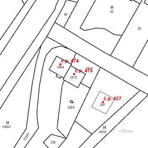 Katastrální mapa Stavební objekt Starý Bohumín 475, Bohumín