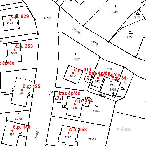 Katastrální mapa Stavební objekt Heřmanice 611, Ostrava