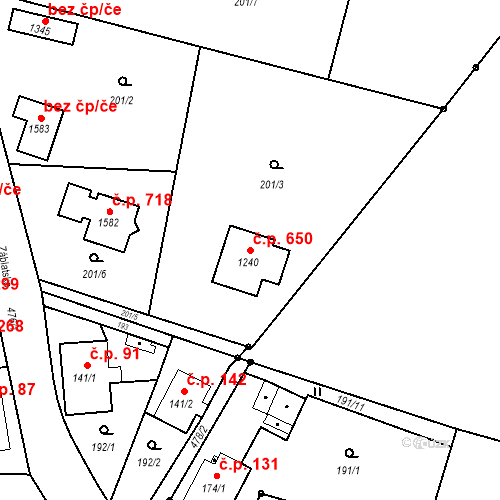 Katastrální mapa Stavební objekt Heřmanice 650, Ostrava
