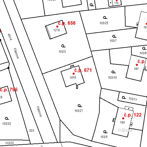 Katastrální mapa Stavební objekt Heřmanice 671, Ostrava
