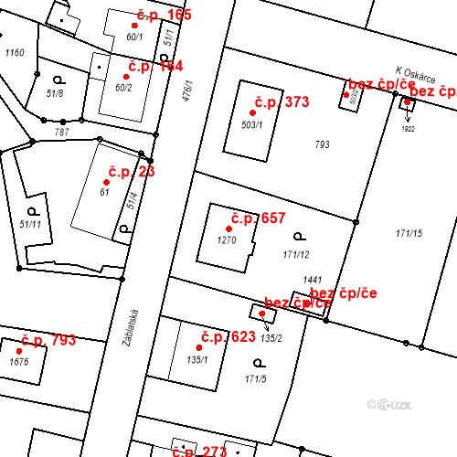 Katastrální mapa Stavební objekt Heřmanice 657, Ostrava