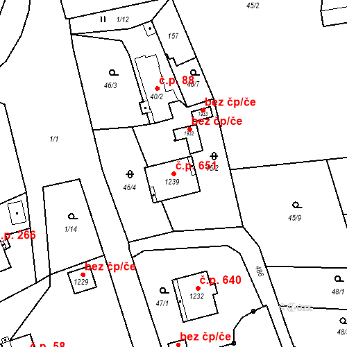 Katastrální mapa Stavební objekt Heřmanice 651, Ostrava