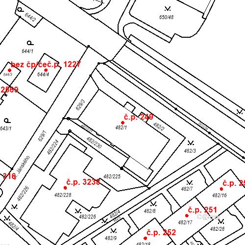 Katastrální mapa Stavební objekt Frýdek 249, Frýdek-Místek